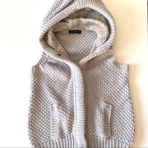 Zara Cable Knit + Fur Vest
